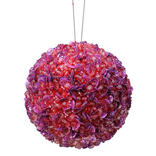 Vickerman Lavish Lilac Fully Sequined and Beaded Christmas Ball Ornament, 3.5″