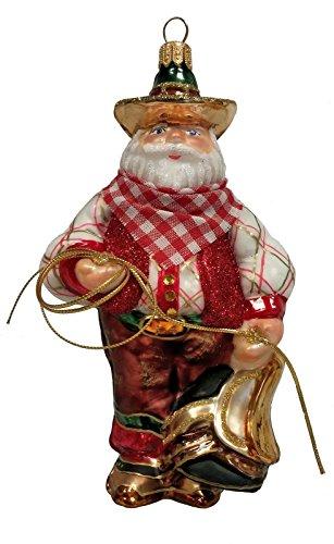Pinnacle Peak Trading Company Wild West Cowboy Santa with Lasso Polish Glass Christmas Ornament Decoration