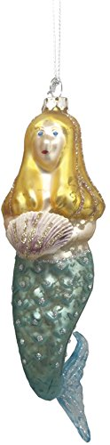 Primitives by Kathy – Holiday Blond Mermaid Glass Ornament