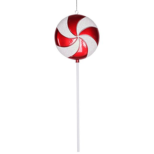 Vickerman Plastic Candy Lollipop with Iridescent Glitter, 24″, Red and White
