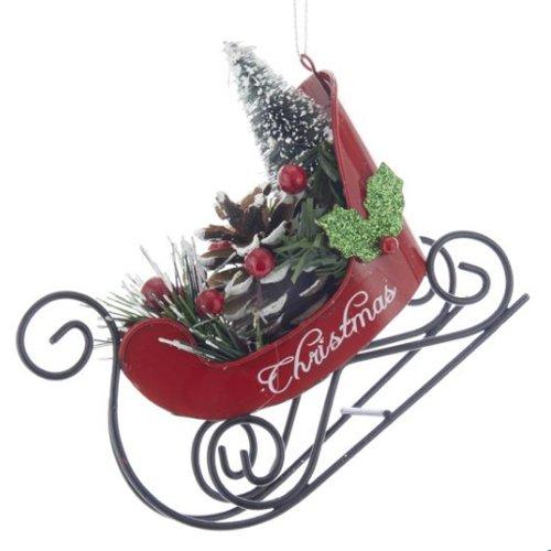 Kurt Adler Christmas Sleigh with Tree Ornament