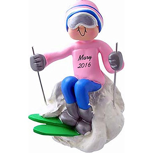 Calliope Designs Skier – Female -Personalized Christmas Ornament – Handpainted Resin – 4.5″ Tall – Free Customization