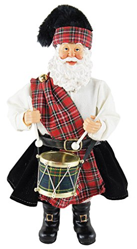 Santa's Workshop 5600 Scottish Drummer Santa Figurine, 12″