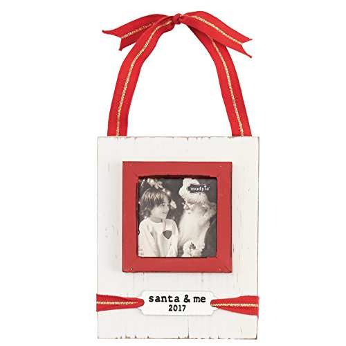 Mud Pie White Washed Distressed Santa and Me Ornament Ribbon Picture Frame 3″ x 2″