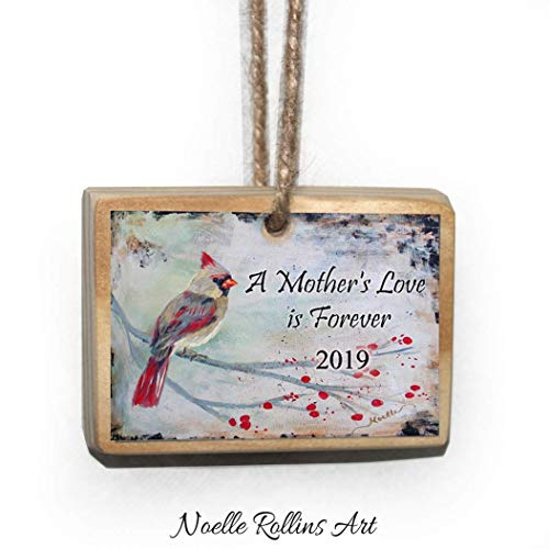 Mother's Love 2019 remembrance ornament with female cardinal