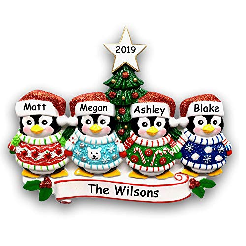 Personalized Festive Ugly Christmas Sweater Penguin Family of 4 with Glittered Santa Stocking Cap and Holiday Christmas Tree Detail Hanging Christmas Ornament with Custom Name and Date (Optional)