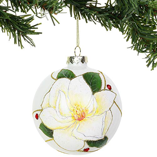 Department 56 Garden Magnolia Glass Ball Hanging Ornament, 4.5 Inch, Multicolor