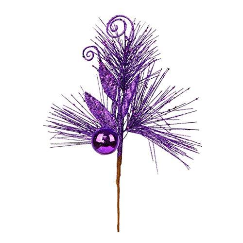 Vickerman 555491-10″ Purple Christmas Tree Ornament Glitter Leaf Pick (12 pack) (L185766)