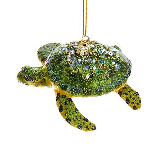Kurt Adler Noble Gems Sea Turtle Hanging Ornament, 4 inches Height