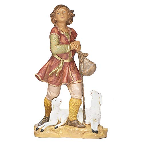 Fontanini, Nativity Figure, Paul The Shepherd, 12″ Scale, Collection, Handmade in Italy, Designed and Manufactured in Tuscany, Polymer, Hand Painted, Italian, Detailed