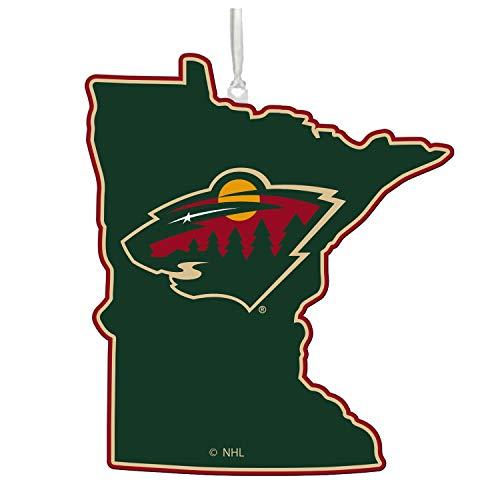 Team Sports America NHL Minnesota Wild Festive State Shaped Christmas Ornament – 5″ Long x 5″ Wide x 0.2″ High
