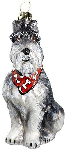 Joy to The World Collectibles European Blown Glass Pet Ornament, Schnauzer Gray with Bandana