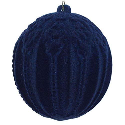 Vickerman 612842-4″ Midnight Blue Flocked Ball Christmas Tree Ornament (3 pack) (MT196531D)