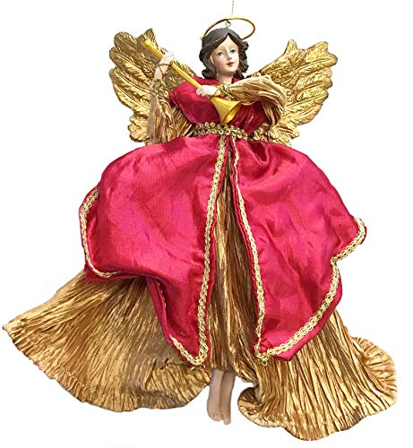 Holiday Lane 10-in Angel with Horn Christmas Ornament, Red & Gold