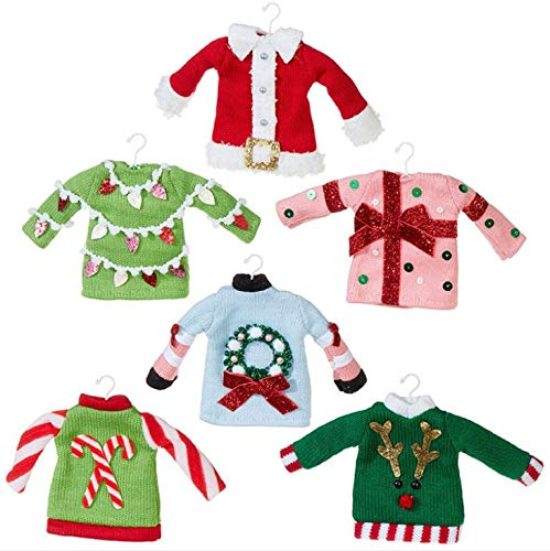 RAZ Imports Set of 6 Ugly Sweater Party Christmas Ornaments – Funny, Vintage OR Gag Gift (3920001)
