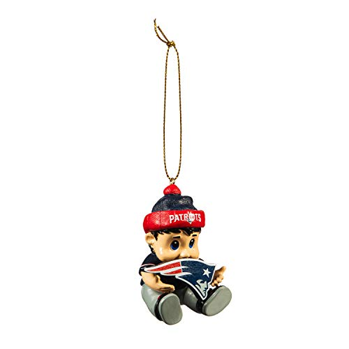 Team Sports America NFL New England Patriots Remarkable Adorable Lil Fan Christmas Ornament – 2″ Long x 2″ Wide x 3″ High
