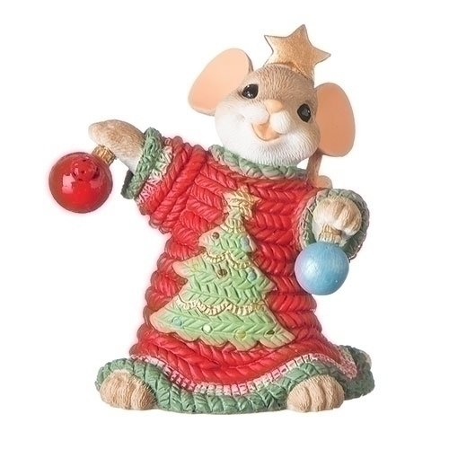 Mouse in Ugly Tree Sweater 3 inch Holiday Tabletop Decorative Figurine