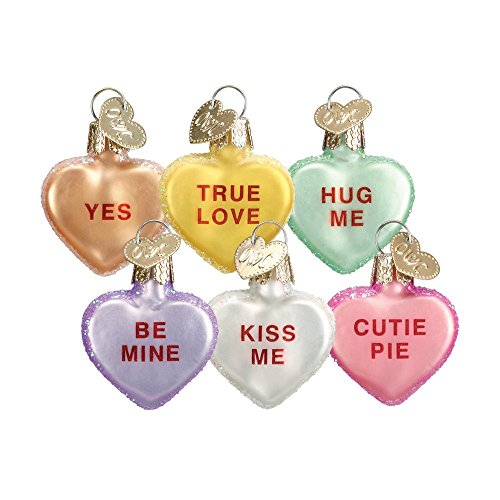 Old World Christmas Ornaments: Conversation Heart Glass Blown Ornaments for Christmas Tree