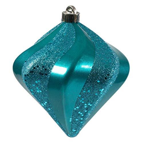 Vickerman 588246-6″ Turquoise Candy Swirl Diamond Christmas Tree Ornament (3 pack) (N189812DCV)