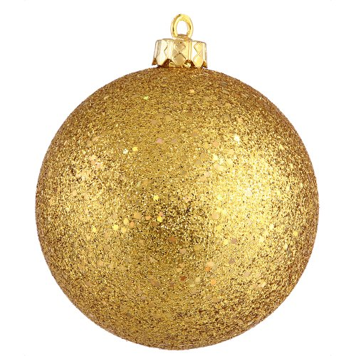 Vickerman Sequin Finish Seamless Shatterproof Christmas Ball Ornament with Drilled Cap, 6 per Bag, 4″, Antique Gold