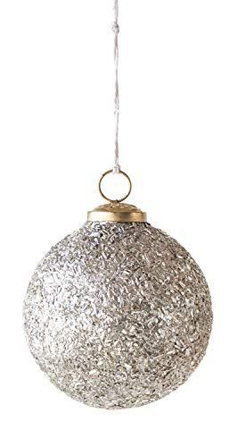 Creative Co-op Medium Glass Ball Silver Mica Flakes Ornament