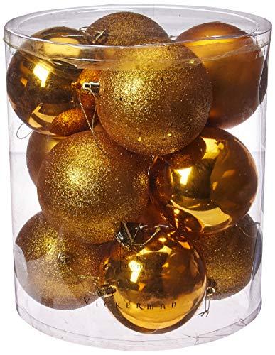 Vickerman 4″ Antique Gold 4 Finish Ball Ornament 6 per Box