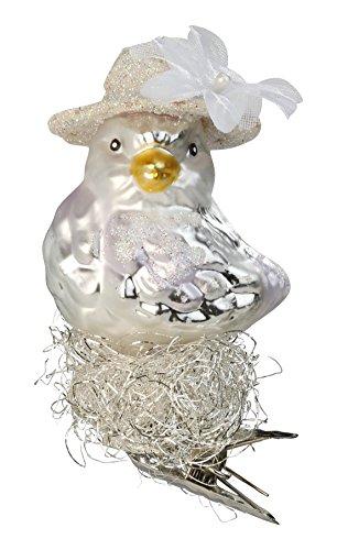 Inge-Glas Bird Clip-On Mrs. 1-031-15 German Blown Glass Christmas Ornament