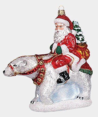 Pinnacle Peak Trading Company Santa Riding a Polar Bear Polish Mouth Blown Glass Christmas Ornament Decoration