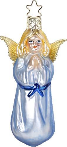 Inge-Glas Blue Angel Nostalgic Angel 10040S019 German Glass Christmas Ornament