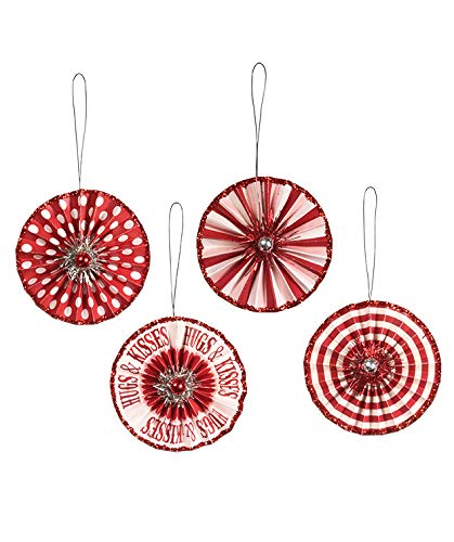 Bethany Lowe Valentine Rosette Ornament Set of 4