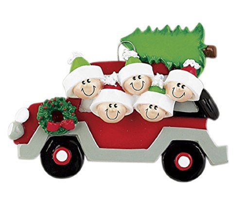 Car Tree Caravan Family of Five(5) Personalized Christmas Ornament-Free Personalization and Gift Bag Included