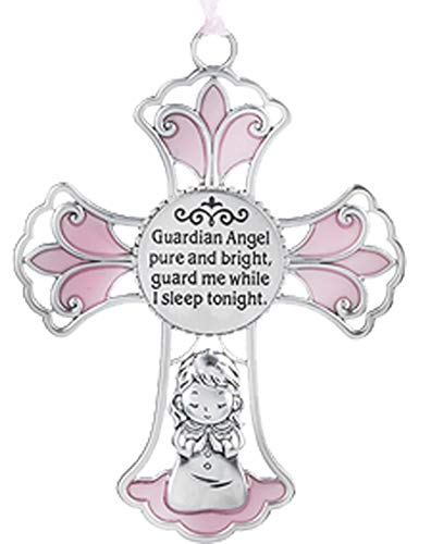 Ganz U.S.A, LLC Ornate Crib Cross Decor with Ribbon Baby Girl for Baptism, Christening, Baby Shower Guardian Angel Pure and Bright, Guard Me While I Sleep Tonight