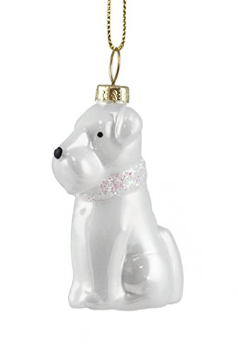 Creative Co-op Scottie Dog with Glittered Scarf Hanging Christmas Ornament