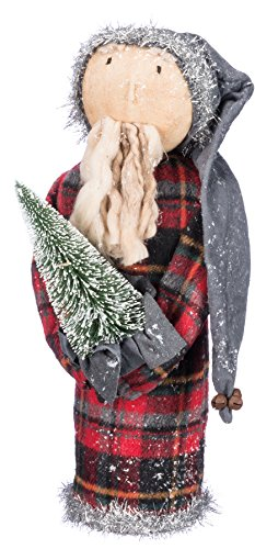 Primitives By Kathy 14 Inches Tall Bristle Fabric Metal Santa With Snow Tree Decorative Ornament