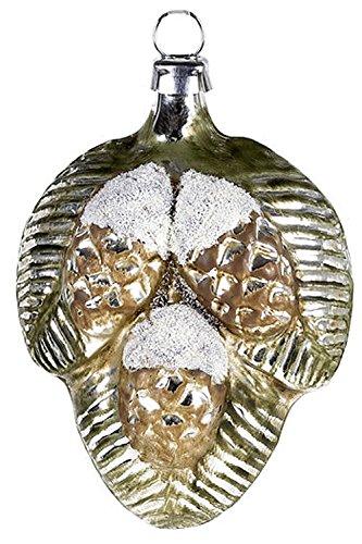 Marolin Small Pine Cones MA2011077 German Glass Ornament w/Gift Box