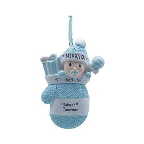 Personalized Christmas Tree Decoration Ornament 2019 – Traditional Home Décor – New Year Santa Gift – Holiday Fun w Hanging Hook – Baby Boy in Mitten – Free Customization