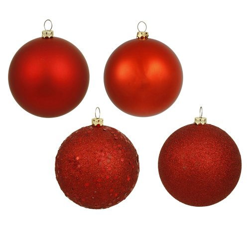 Vickerman 4-Finish Assorted Plastic Ornament Set & Seamless Shatterproof Christmas Ball Ornaments with Drilled Cap, Assorted 4 per Bag, 6″, Red