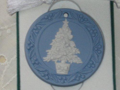 "1988 Wedgwood Christmas Ornament ""Christmas Tree"" Baby Blue Jasperware"