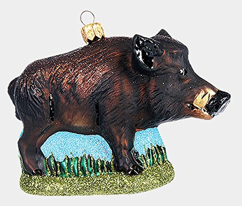 Pinnacle Peak Trading Company Wild Boar Pig Swine Polish Glass Christmas Ornament Decoration Javelina