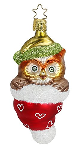 Inge Glas Owl Hat What a Hoot 1-113-15 German Blown Glass Christmas Ornament