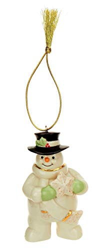 Lennox Holiday Cheer Snowman Porcelain Ornament with 24K Gold