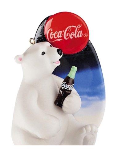 Carlton Cards Heirloom Coca-Cola White Porcelain Polar Bear Christmas Ornament