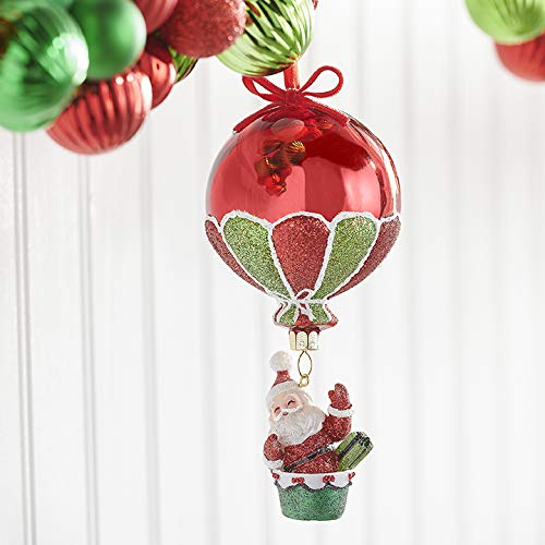 Raz 6.25″ Santa in Hot Air Balloon Glass Christmas Ornament 3952860