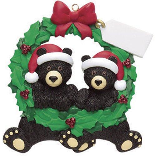 Personalized Black Bears Wreath Christmas Tree Ornament 2019 – Cute Couple Sibling Friend Santa Hat Hug Note Glitter Green Winter Year – Free Customization