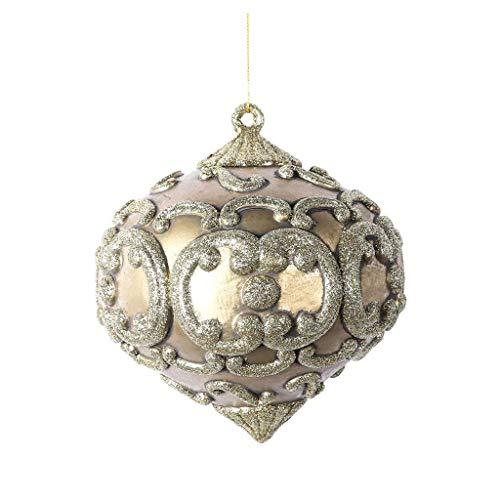 Vickerman Company MC194338 Antique Glitter Onion Christmas Tree Ornament, Champagne