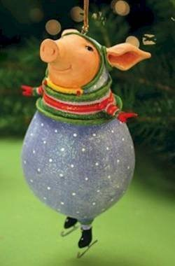 Patience Brewster Krinkles Fred Pig Christmas Ornament by Patience Brewster