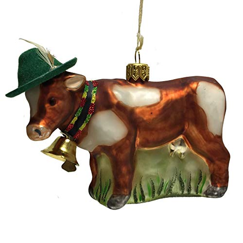 Pinnacle Peak Trading Company Cow with Green Bavarian Feather Hat and Bell Polish Glass Christmas Ornament
