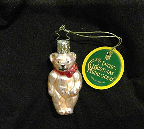 Old Friend Teddy Bear Red Bow Inge Glas German Christmas Ornament