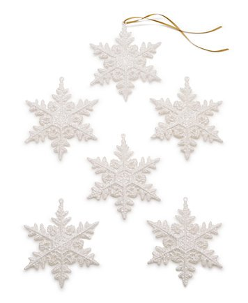 Holiday Lane Set of 6 White Snowflake Ornaments