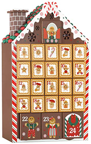 BRUBAKER Advent Calendar – Wooden Gingerbread House with 4 LED Lights – 10.3 x 17.7 x 2.1 inches
